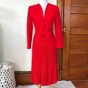 Valentino Wool Bow Crepe Blazer Red Skirt Suit Set
